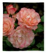 Beautiful Peach Roses Fleece Blanket