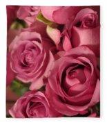 Beautiful Pink Roses 6 Fleece Blanket