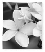 Beautiful Plumeria In Black And White Fleece Blanket
