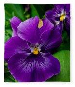 Beautiful Purple Pansies Fleece Blanket