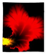 Beautiful Red And Yellow Floral Fractal Artwork Square Format Fleece Blanket