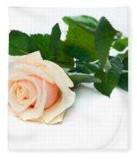 Beautiful Rose On White Fleece Blanket