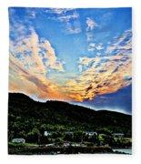 Beautiful Sky Over The Harbour Digital Painting Fleece Blanket