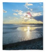 Beautiful Sunset Iowa River Fleece Blanket