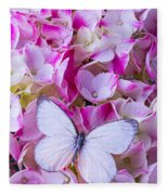 Beautiful White Butterfly Fleece Blanket