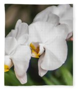 Beautiful White Orchids Flower Bloom Fleece Blanket