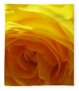 Yellow Rose Macro Fleece Blanket