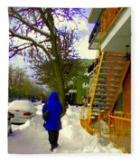 Beautiful Yellow Staircase Verdun Snow Scene Montreal Art Colors Of Quebec Carole Spandau Fleece Blanket