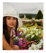 Beautiful Young Woman In Paris Fleece Blanket