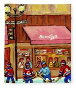 Beauty's Restaurant Paintings Of Plateau Montreal Winter Scenes Hockey Art Carole Spandau  Fleece Blanket