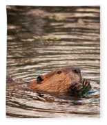 Beaver Feeding Fleece Blanket
