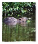 beaver swims in NC lake Fleece Blanket