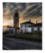 Beavertail Lighthouse Sunset Fleece Blanket