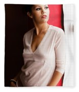 Becky By The Window Fleece Blanket