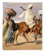 Bedouin Family Travels Across The Desert Fleece Blanket