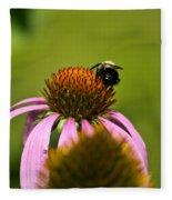 Bee And Echinacea Flower Fleece Blanket