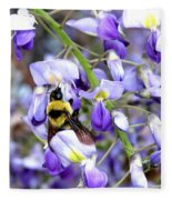 Bee In The Wisteria Fleece Blanket