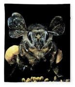 Bee Loaded With Pollen Fleece Blanket