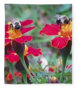 Bees On A Marigold 4 Fleece Blanket