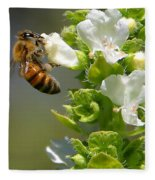 Bee On Basil Fleece Blanket