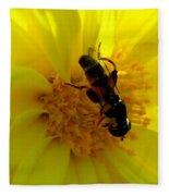 Honey Bee On Sunflower Fleece Blanket