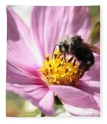 Bee On Pink Cosmos Fleece Blanket