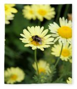 Bee On Yellow Fleece Blanket