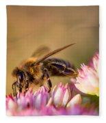 Bee Sitting On Flower Fleece Blanket