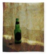 Beer Bottle On Windowsill Fleece Blanket