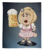 Beer Stein Dirndl Oktoberfest Cartoon Woman Grunge Color Fleece Blanket