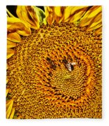 Bees On Sunflower Hdr Fleece Blanket