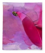 Beetle On A Rose Fleece Blanket