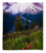 Before Dawn At Mount Rainier Fleece Blanket