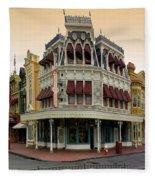 Before The Gates Open Magic Kingdom Main Street. Fleece Blanket
