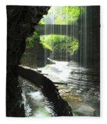 Behind Rainbow Falls Fleece Blanket
