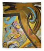 Being Easy Original Abstract Colorful Figure Painting For Sale Yellow Umber Blue Pink Fleece Blanket