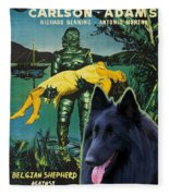 Belgian Shepherd Art Canvas Print - Creature From The Black Lagoon Movie Poster Fleece Blanket