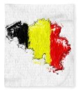 Belgium Painted Flag Map Fleece Blanket