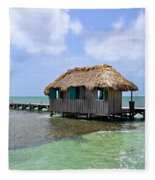 Belize Pier And Seascape Fleece Blanket
