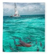 Belize Turquoise Shark N Sail  Fleece Blanket