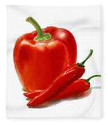 Bell Pepper With Chili Peppers Fleece Blanket