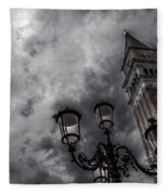 Bell Tower And Street Lamp Fleece Blanket