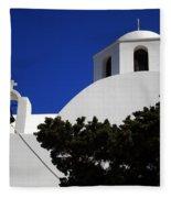 Bella Santorini Island Church Greece  Fleece Blanket
