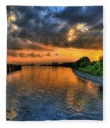 Belle Isle Pier Sunset Detroit Mi Fleece Blanket