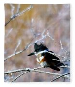 Belted Kingfisher  Fleece Blanket