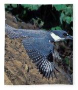 Belted Kingfisher Leaving Nest Fleece Blanket