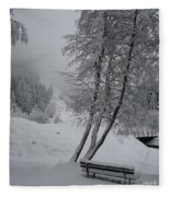 Bench In The Snow Fleece Blanket