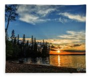 Beautiful Sunset At Waskesiu Lake Fleece Blanket