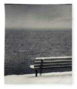 Bench On The Winter Shore Fleece Blanket
