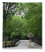 Bench Rows In Central Park  Nyc Fleece Blanket
